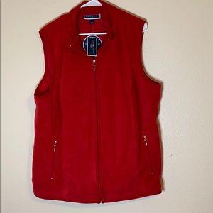 Karen Scott red zeroproof fleece vest.